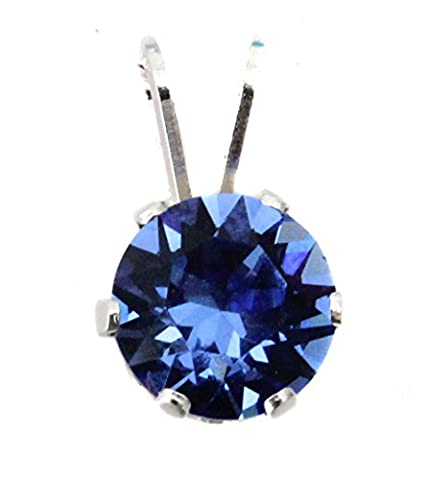 Small 6mm Sapphire Crystal Pendant Only made with Swarovski Crystal and Sterling Silver - By Black Moon