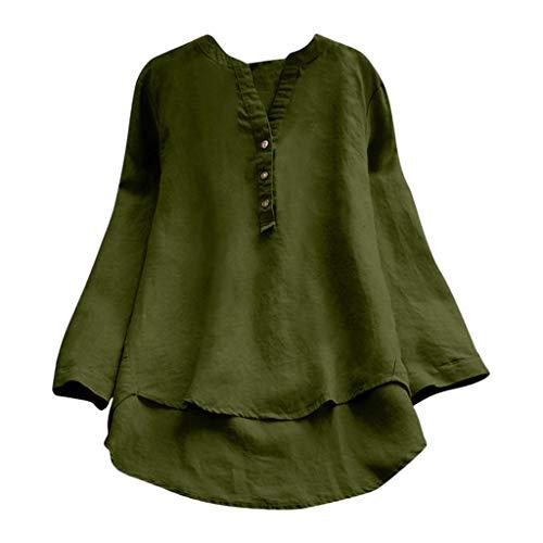 QIMANZI Übergröße Damen Lange Ärmel Kaftan Ausgebeult Taste Bettwäsche aus BaumwolleTunika Bluse(ZX Grün,3XL) -
