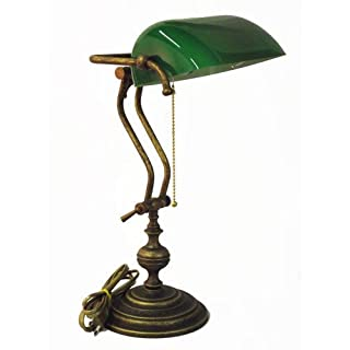 Ministerial Green Glass Table Lamp in Brass Made in Italy