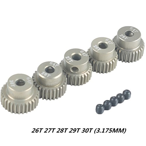 Crazepony-UK 64DP 3.175mm 26T 27T 28T 29T 30T Pinion Motor Gear Set for 1/10 RC Car Brushed Brushless Motor