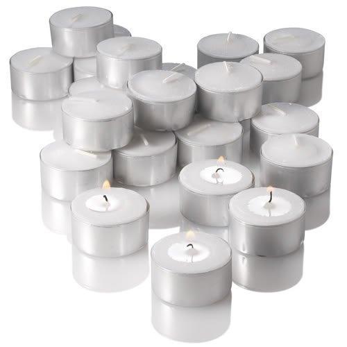 Newlemo 50 Pezzi Candele Bianche Votive Candele Alluminio Bianca Candele Tealight per Matrimonio, Vacanza, Partito, Decorazione