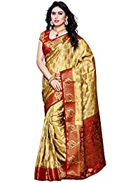 MIMOSA Women's Artificial Silk Saree (Red & Chiku_ Free Size)