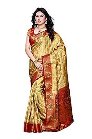 MIMOSA Women's Artificial Silk Saree (Red & Chiku_ Free Size)