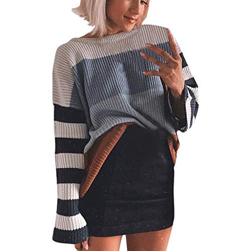 LILIGOD Frauen Strickten Sweatshirt O-Ansatz Gestreifte Farben Block Strickjacke Strickwaren Patchwork Pullover Oberseiten Casual Langarm Bluse T-Shirt Lose Warmes Sweater Outwear
