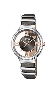 Lotus-Reloj de Cuarzo para Mujer con Esfera analógica Gris y Gris Correa de Piel 18337/1