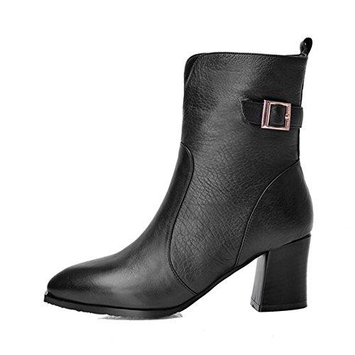 nero donne verde stivali taglia pelle ¬ di 34– tacchi fibbia scarpe £ £ militare cerniera alti laterale ¬ O6UqOxr