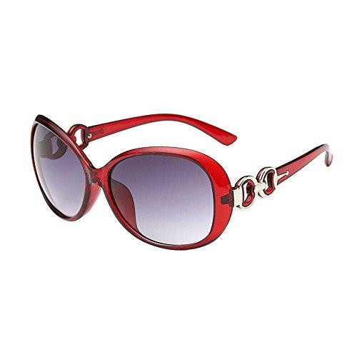 Pawaca Sommer Vintage rund CAT Eye Brille Metall Rahmen Sonnenbrille für Frauen royal red