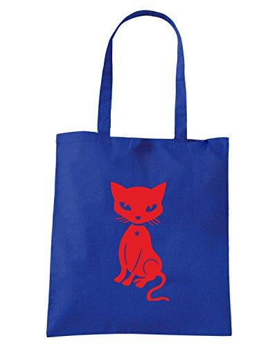 T-Shirtshock - Borsa Shopping FUN0957 cat decal 444 03691 Blu Royal