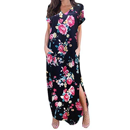 Frauen Casual Party Dress Frauen Casual Sleeve V-Ausschnitt Print Maxi Tank Langes Kleid