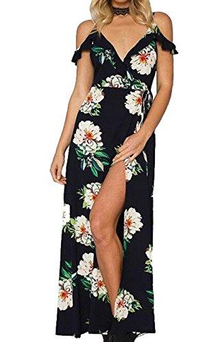 Aus Schulter Blumendruck Deep V Sling Asymmetrisches Kleid Backless Stil 1
