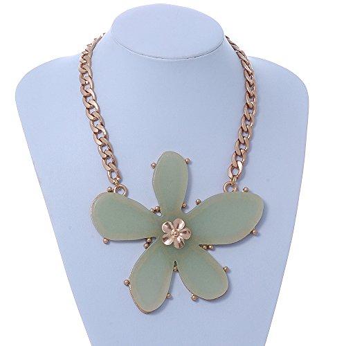 Grande, In resina, colore: verde chiaro con fiore pendente con catena a maglie ovali grandi, placcato In oro, 44 cm, lunghezza estensione 5 cm