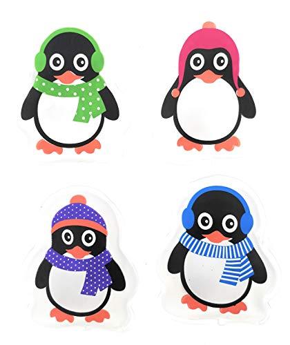 MC-Trend 4er Set Taschenwärmer Handwärmer Pinguine für warme Hände und Finger, Wiederverwendbare Wärmekissen