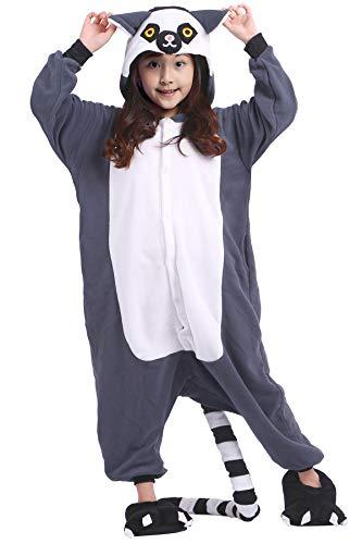 (Kinder Pyjama Tier Cartoonstil Kigurumi Ring Tailed Lemur Cosplay Animal Polar Fleece Plüsch für Unisex)