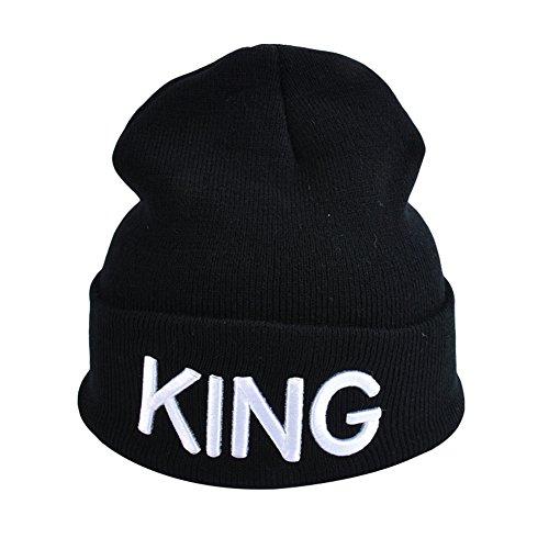 Strickmütze Buchstabe Print King/Queen Paar gerippte Mütze Slouchy Beanie Cap, schwarz