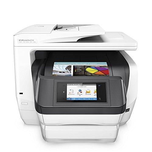 HP OfficeJet Pro 8740 Multifunktionsdrucker (A4, Drucker, Scanner, Kopierer, Fax, PCL 6, WLAN, LAN, NFC, Duplex, Instant Ink kompatibel, 500 Blatt Papierfach, HP ePrint, Airprint, Cloud Print, USB, 2400 x 1200 dpi) weiß