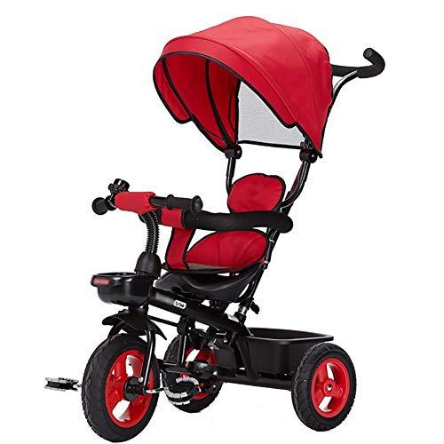Tricycle pour Enfants, Tricycle édition Deluxe 4 en 1 avec auvent et Dispositif de sécurité, Rouge