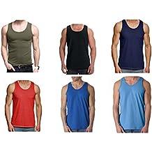 105398e00a9b2 6x Pack hombre camiseta 100% Algodón Camiseta De Tirantes Gimnasio Suéter  Pack LISO ...