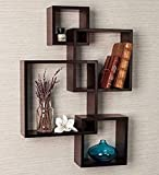 Olympic Arts Rafuf Intersecting Floating Wall Shelf with 4 Shelves (Standard, Brown)