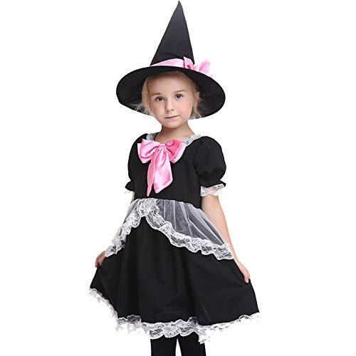 Apokalyptische Kostüm - XDXDO Halloween Wear Mädchen Cosplay Kleid Kinder Spitz Hut Rock Party Girl Maskerade Dance Kostüme Countrygirl Kostüm,L(115cm~125cm