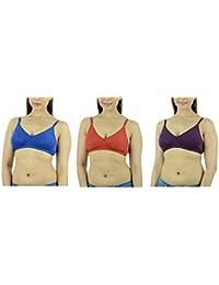 Ishita Fashions Women's Cotton Bra (Blue, Red, Wine) - 3 PCs Combo