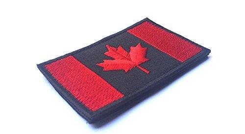 Kanadische Flagge Abzeichen, Kanada Maple Leaf 2x3 Militär Moral Patch für Kleidung Jeans Hut (schwarz mit rot)