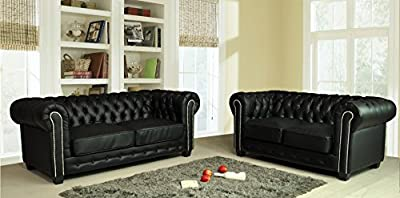 Chesterfield Black Leather Sofa Suite 3+2 Seater Brand New 12 Months warranty FREE DELIVERY by Furnitureinstore