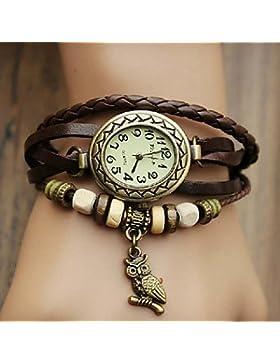 Fenkoo Damenuhr böhmischen Eule Anhänger Lederband Armband (gelegentliche Farbe)