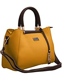 TAP FASHION Faux Leather Yellow And Brown Women's Handbag With Detachable Strap ( Yellow-Brown )