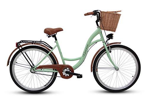 Goetze Classic 26 Zoll Damen Citybike Stadtrad Damenfahrrad Damenrad Hollandrad Retro-Design 3-Gang Korb Hinterradbremse LED-Beleuchtung Pistaziengrün
