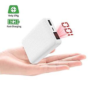 Mini Portátil Power Bank 10000mAh Bateria Externa Movi Cargador con 2.1A Puertos Salidas USB Alta Velocidad,Pantalla LCD…