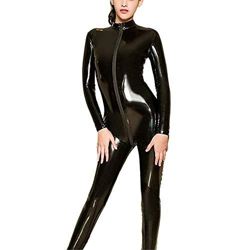 Zxllyntop-Onesies Sexy Body für Damen Frauen Wetlook PU Leder Dessous Set Langarm Reißverschluss Volle Bodysuit Kostüm Sheer Spandex Catsuit Clubwear Overalls Cosplay Outfits Clubwear Oberteile -