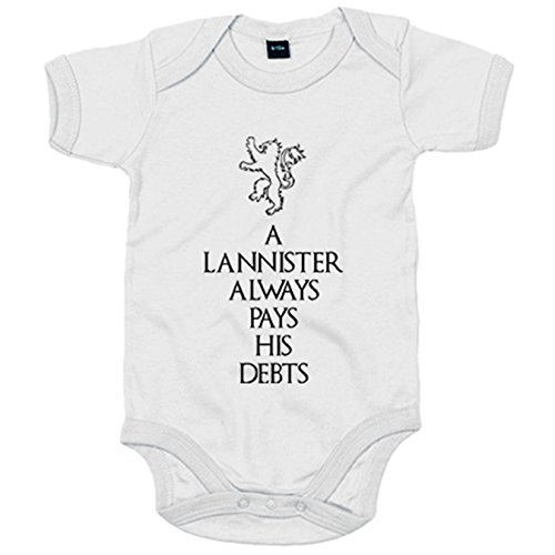 Body bebé Juego de Tronos A Lannister Always Pays His Debts frase Tyrion Lannister - Blanco, 6-12 meses