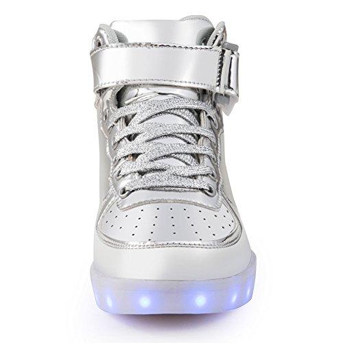 Chaussure à Led Usb Batterie Semelle Lumineuse Fille Garçon Enfant Basket Lumiere Qui Clignotant Femme Adulte Argent