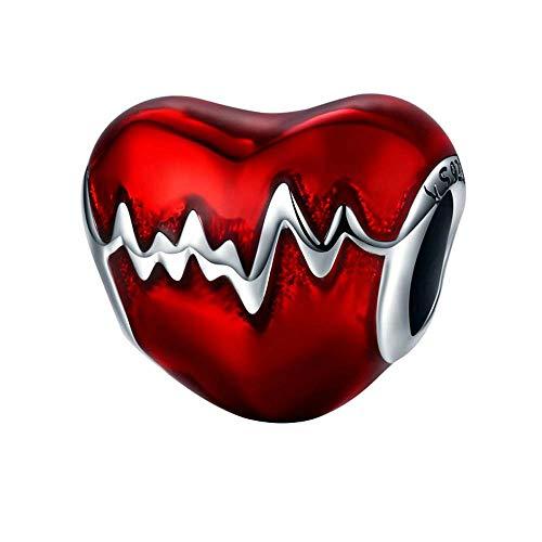 Sterling Silber Perlen Großhandel Heart-förmige EKG Perlenarmband Halskette Silber geprägt SCC249 ()
