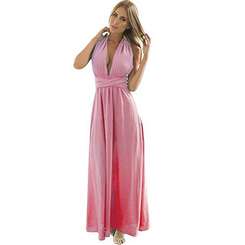 BOMOVO Damen Hochzeitkleid Multi-Seilquer Kleider Rückenfrei Sexy Verbandkleid Elgant Rosa