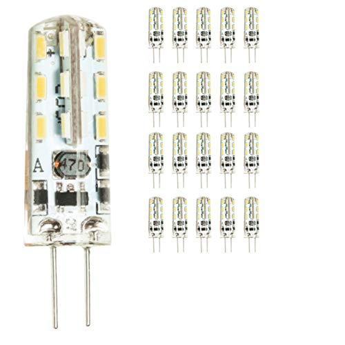 mengjay® 20 Stück - G4 LED Lamper 2 Watt 12V AC/DC Warmweiß aus Silikon (Silica Gel) Lampe Leuchte Leuchtmittel