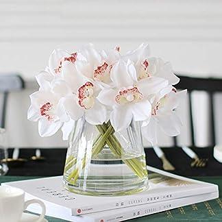 MTQVV Flor Artificial FlowerWhite Orquídeas Flores Artificiales Real Touch Flor de Cymbidium Ramo de Mano Nupcial Flores de la Boda Decoración para Mesa Arreglo