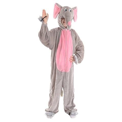 Costume animal enfant d'éléphant. moyenne 5-6 ans. Zip jusqu'à salopette avec capuche.