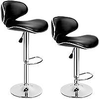 TecTake 2 Sgabelli da bar moderni sgabello design cucina sedia set regolabile nero cromo