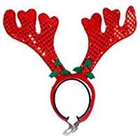 Delicacydex Cute Pet Supplies Navidad Pet Red Antler Diadema Banda para el Cabello - Rojo