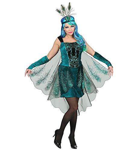 shoperama 3-teiliges Pfau Damen Kostüm Kleid Federn Kopfschmuck Karneval Verkleidung, Größe:S