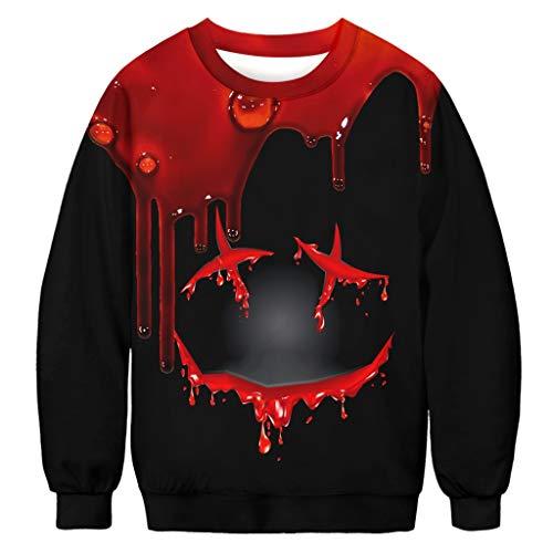ZHANSANFM Halloween Kostüme Unisex Langarm Pullover 3D Blutfleck Druck Lustiger Stil Sweatshirt Bunte Gruselig Kapuzenpulli Sweatshirt Weihnachten Kapuzenjacke Party Shirt (2XL, - Lustige Einzigartige Paare Kostüm