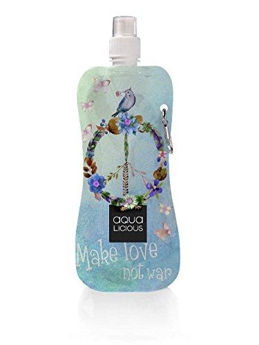 Aqua-Licious Gourde avec mousqueton, réutilisable, Motifs tendance, Paix