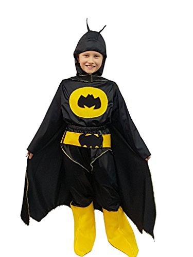 val Maske Halloween-Kostüm Cosplay Spielfigur Film Superheld Batman Fledermaus schwarze Fledermaus voller Jackett Maske Überstiefel Baby Gürtel tg 6 Jahre baby baby boy (Halloween-jackett)