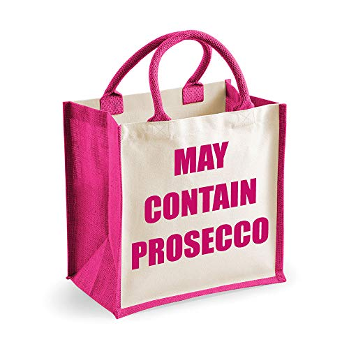 m Jute Tasche May enthalten Prosecco Pink Tasche Muttertag NEU Mutter Geburtstag WEIHNACHTSGESCHENK