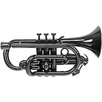 Classic Cantabile Tromba ABS Kunststoff Cornet (Monel-Ventile, Gewicht nur 525g, inkl. Mundstück, Koffer, Ständer & Reinigungsset) schwarz
