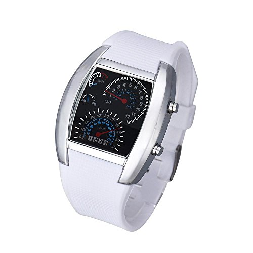 Hot Sale.firally Mode Homme et Femme Aviation Turbo Cadran Flash LED Horloge Cadeau Sport Voiture Instrument Wristwatches Montres de Poignet Montres pour Femme Blanc
