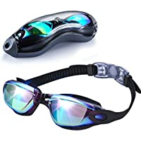 EMIUP Swimming Goggles Adult, Anti Fog UV Protection No Leaking Swim Goggles with Free Protection Case for Men Women Youth Kids(Over 6 Years Old)