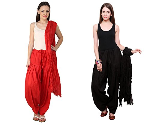 Mrv fashion Women Plain Cotton Traditional Punjabi Full Patiala Pant\'s with Dupatta Readymade Set-Free Size (black::red)