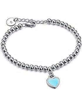 Armband mit runden Perlen, 4mm, versilbert mit 925Sterling Silber, mit Herz-Anhänger, emailliert, türkisblau.